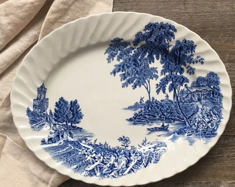 Vintage Blue Transferware Platter - Swinnertons, The Ferry | blue and white china, ironstone platter, small serving platter, made in england