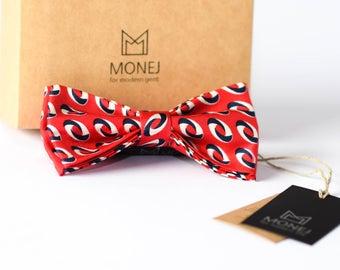 Red  Bow Ties, Silk Bow Tie, Men Bow Tie, Men Gift, Christmas Gift, Wedding Bow Ties, Groom Bow Tie, Groomsmen Bow Tie, Retro Vintage Bowtie