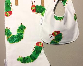 The Very Hungry Caterpillar Baby Bib, Burp Cloth Set
