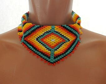 Native beaded necklace, ethnic seed bead necklace, native american style, seed bead multicolored bandana