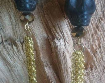 Skull earrings skeleton jewelry drop earrings gold chain earrings black stone skull edgy earrings skull jewelry costume jewelry