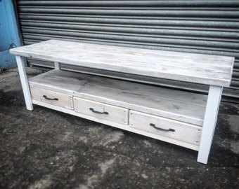 industrial chic reclaimed wood tv stand media unit with 3 drawers in white steel and