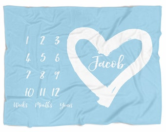 Monthly Baby blanket, personalized baby blanket, newborn photo prop - PICK COLOR