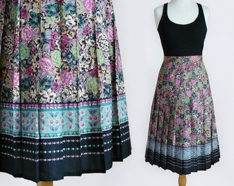 70's High Waisted Floral Print Midi Length Pleated Skirt by Verdosa Paris / Made in France / Small
