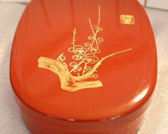 Japanese Bento box lunch box vintage Asian Gold, Orange and Black, Gold Cherry Blossoms on Lid