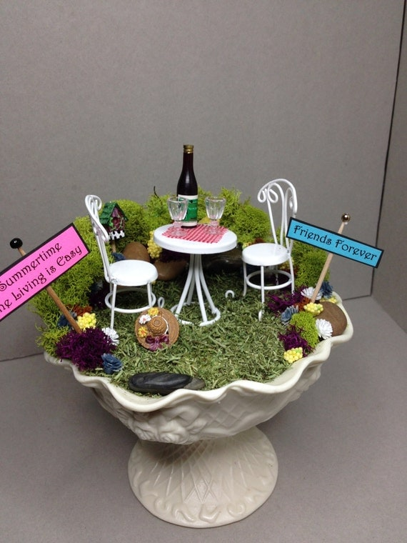 Snow sale mini fairy garden18 free shipping bistro set in Sun garden riesling