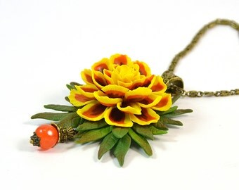Marigold Necklace  / Pendant - Polymer clay jewelry - handmade Floral necklace - yellow orange necklace