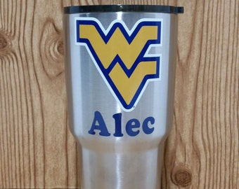 West Virginia University Mountaineers Personalized Stainless Steel Tumbler