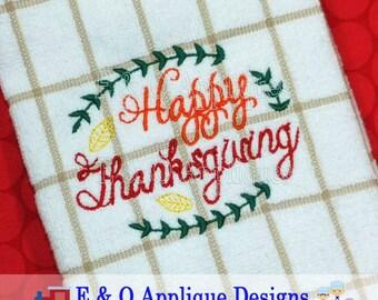 Thanksgiving Embroidery Design, Happy Thanksgiving Embroidery Design, Thanksgiving Machine Embroidery Design, Kitchen Towel Design