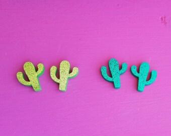 Glitter Laser Cut Cactus Earrings- Cacti Earrings- Desert Earrings
