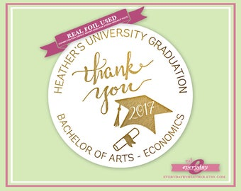 Personalized Foiled Thank You Stickers - University / School Graduation