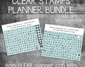 flash sale planner stamps, planner icon stamps, planner icons, clear planner stamps, planner stamp set, bullet journal, ECLP, MAMBI, Happy P