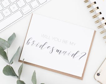 Will you be my Bridesmaid Card | Watercolor Calligraphy Greeting Card | Bridal Party Card