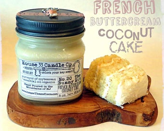 soy beeswax candle, No. 20 The Bunny Hut - French Buttercream Coconut Cake infused with essential oils, all-natural organic mason jar eco