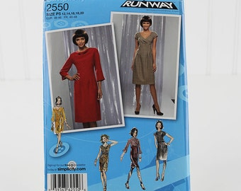 Project Runway Dress Pattern, Uncut Sewing Pattern, Simplicity 2550, Size 12-20
