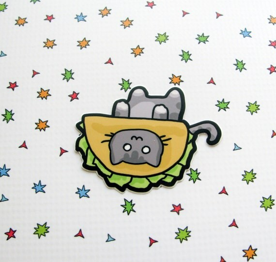 Grey Taco Cat Sticker Laptop Sticker Car Sticker Bumper