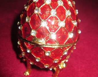Red Vintage Easter Egg Faberge  Egg Swarovski Crystal Accent Trinket Jewelry Box