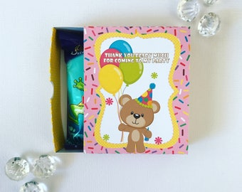 Birthday bear matchboxes