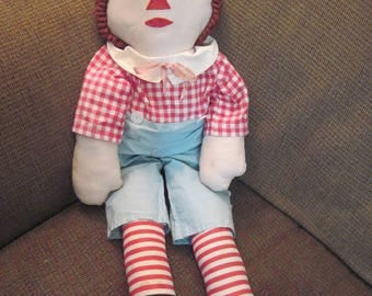 "Vintage Handmade Raggedy Andy Doll 27"" tall well loved well cared for made in 1960's"