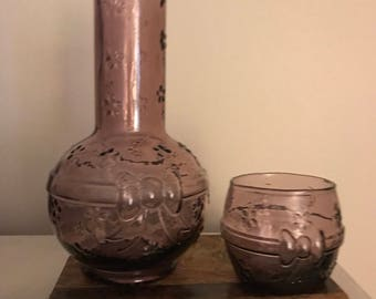 FREE SHIPPING - Vintage Carafe and Glass, Made in Italy, Crownford Giftware
