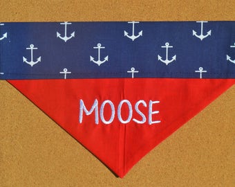 Navy Anchors ~ Personalized ~ Over The Collar Dog Bandana