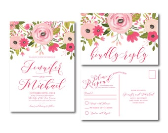Floral Wedding Invitation Suite, RSVP Postcard, Wedding Invite Suite, RSVP Card, Boho Invitations, 2 Piece Wedding Suite #CL333