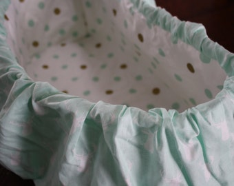 Mint green Deer Head & polka dot SALE child shopping cart cover,hunting,woodland,deer, Baby shower gift, Grocery cart cover, baby girl,baby