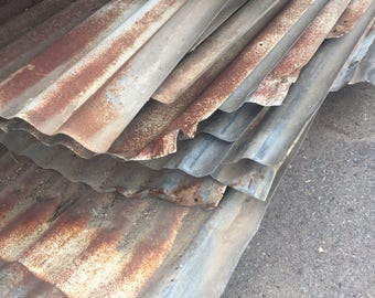 Galvanized metal sheets - Salvaged Barn roof - roofing from old Farms in Fresno County California  12' X 36'