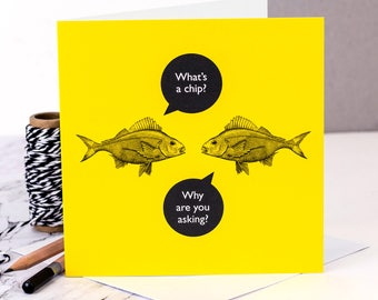Funny Card; 'What's A Chip?'; Funny Birthday Card; Funny Friendship Card; GC473