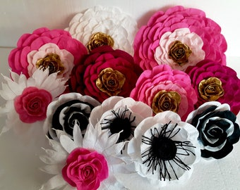 12 large paper flowers giant paper flowers pink bridal kate shower spade baby shower paris paper flowers wedding bakdrop Paper wall Decor
