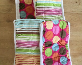 Cloth diaper burp rag set, burp cloth, baby girl gift, pink burp rags, gift set
