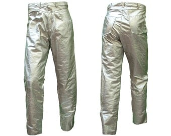 1980s Large Pant Silver Leather Metal 36 30 Space Astronaut Burning Man Rave Disco 90s Mad Max Post Apocalypse Glitter Punk Alien Steampunk