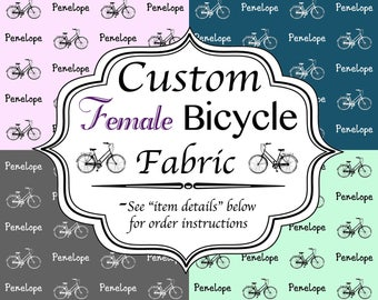 Bicycle Name Fabric - Any Name, Quote, or Phrase - Choose from 44 Colors and 10 Fonts for a unique personalized sewing project or gift
