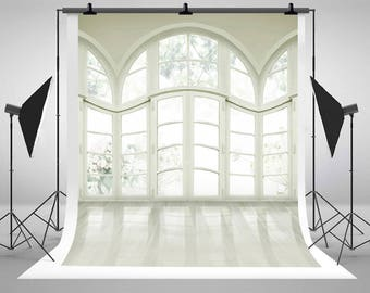White Color Wedding Photography Backdrops Sleek Glass Doors Windows Mini Photo Backgrounds Studio WL-A-3307