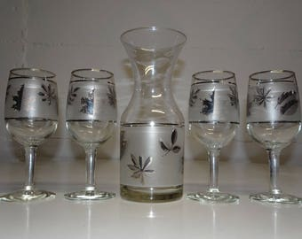 Mid Century 1950's, 60's Libby Frosted Silver Leaf Wine Glasses With Carafe - FREE SHIPPING