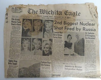 Marilyn Monroe's Death The Wichita Eagle Newspaper August 5th 1962  FREE SHIPPING