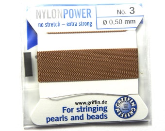 1x 2m Griffin Nylon Power Bead Cord No. 3 - 0.5mm with Needle - Beige