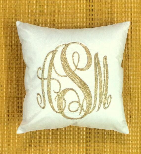 40% OFF Monogram Pillow Sequin Decorative Pillow Personalized