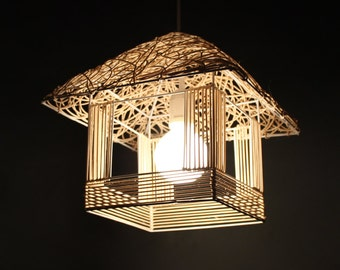 Small House Shape Rattan Pendant Lights-Hand Woven Rattan Lamps-Rattan Lighting Fixtures-Decorative Lamps-House Shaped Lamp-Countryside Lamp