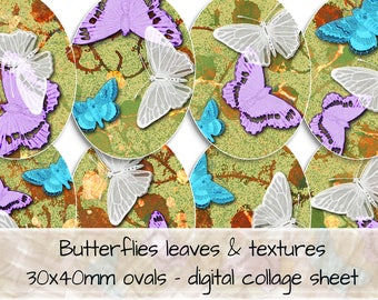 Butterflies on leaves and textures 30x40mm ovals digital collage sheet 0320