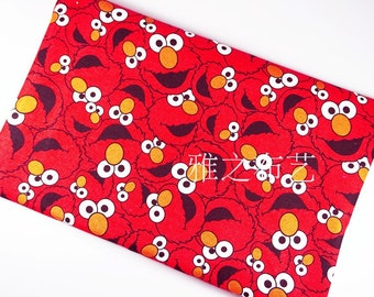 90x140cm/35x55Inch Red Sesame Street Thick Canvas Fabric
