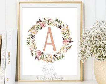 Nursery letter, floral wreath letter, initials calligraphy, monogram art, printable flower, nursery monogram, pastel nursery, girl decor 15