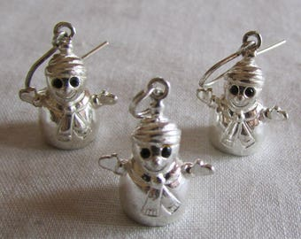 Sterling Silver Snowman Earrings and Pendant Set