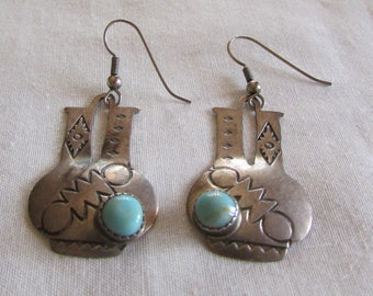 Sterling Silver and Turquoise Navajo Wedding Vase Earrings