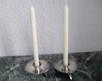 2 pcs small silver plate candlesticks, very decorative.