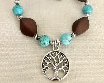 Tree of life Turquoise stone and brown stretch bracelet