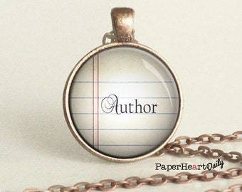 Author Necklace - Writer Gift - Writing Jewelry - Storyteller -  (B4136)