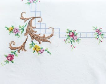 Beautiful vintage white tablecloth with embroidery-tablecloth with cross stitch flowers embroidery-hand embroidered tablecloth-Flowers