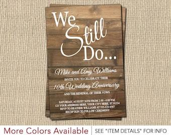 Vow Renewal Invitation - Wedding Anniversary Invitations - Rustic, Wood, Vintage
