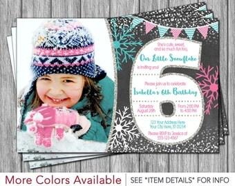 Winter Birthday Invitation - Winter 6th Birthday Invitations - Snowflake & Chalkboard - Sixth Birthday Invitation